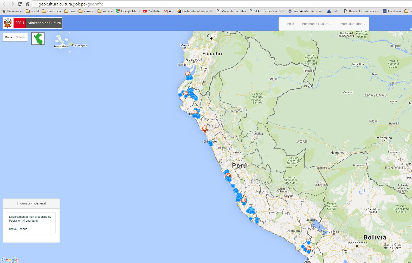 Ministerio de cultura presenta mapa geo tnico de for Ministerio del interior ubicacion mapa